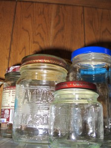 different sized glass jars
