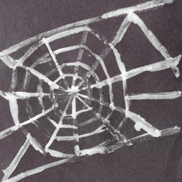 Halloween Craft Time:  Sparkly Spiderwebs