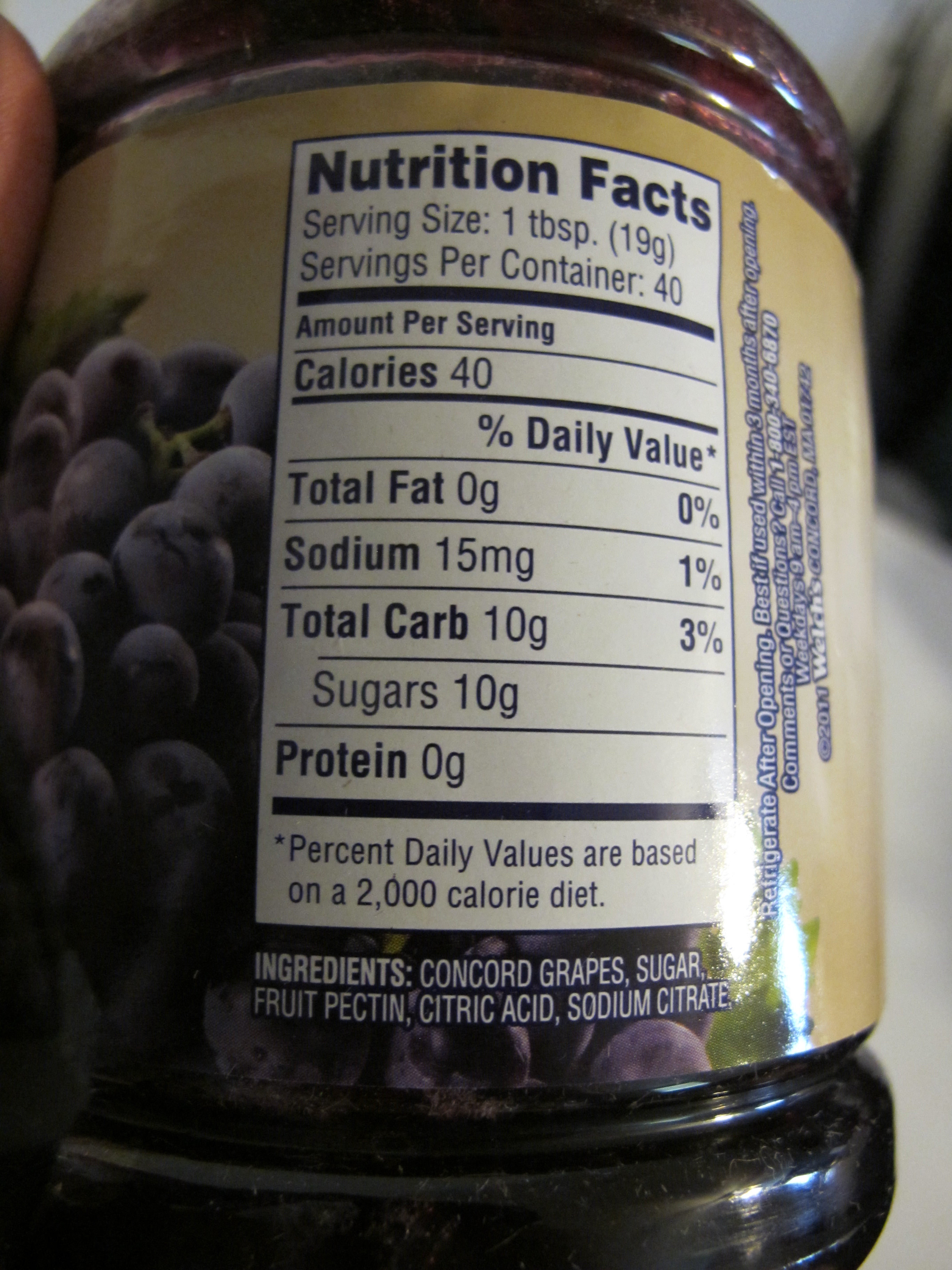 Welch S Natural Grape Jelly Nutrition