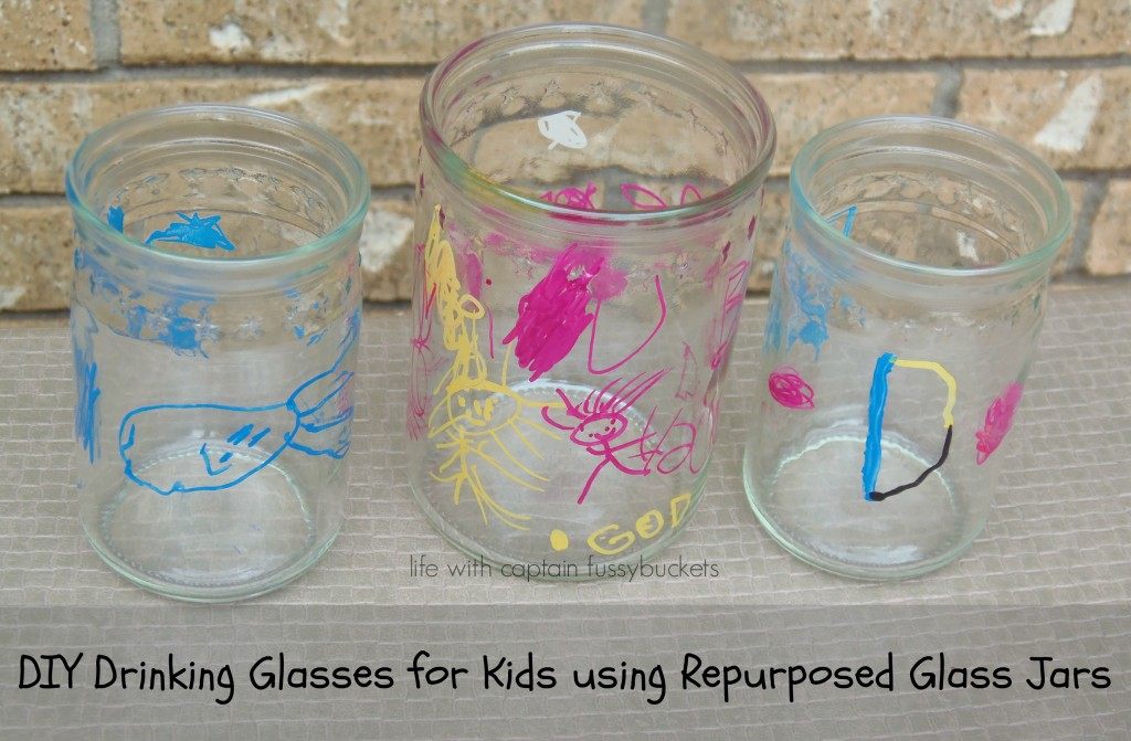DIY Drinking Glasses for Kids Using Repurposed Glass Jars