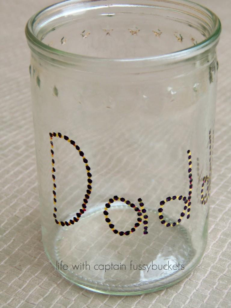 DIY father's day Drinking Glass using Repurposed Glass Jars