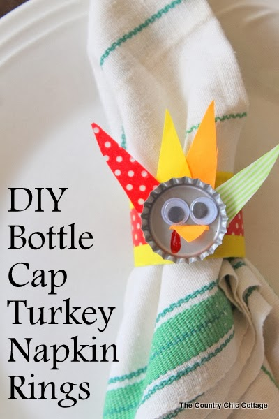 DIY bottle cap turkey napkin rings