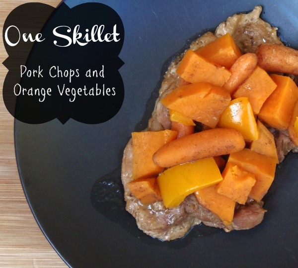 One Skillet Pork Chops and Orange Vegetables