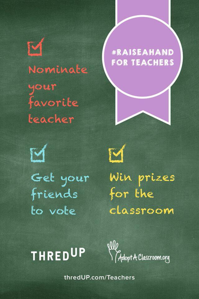 Raise A Hand For Teachers with ThredUp