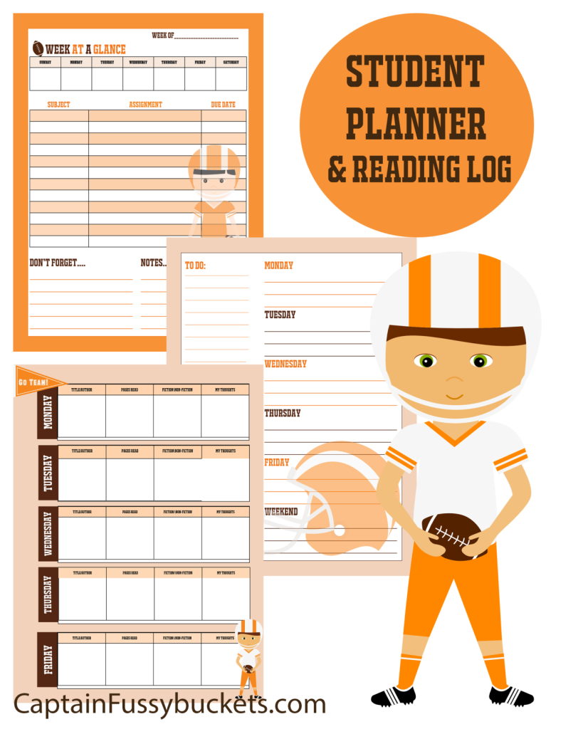 Planner for Kids: Football Themed Planner and Reading Log