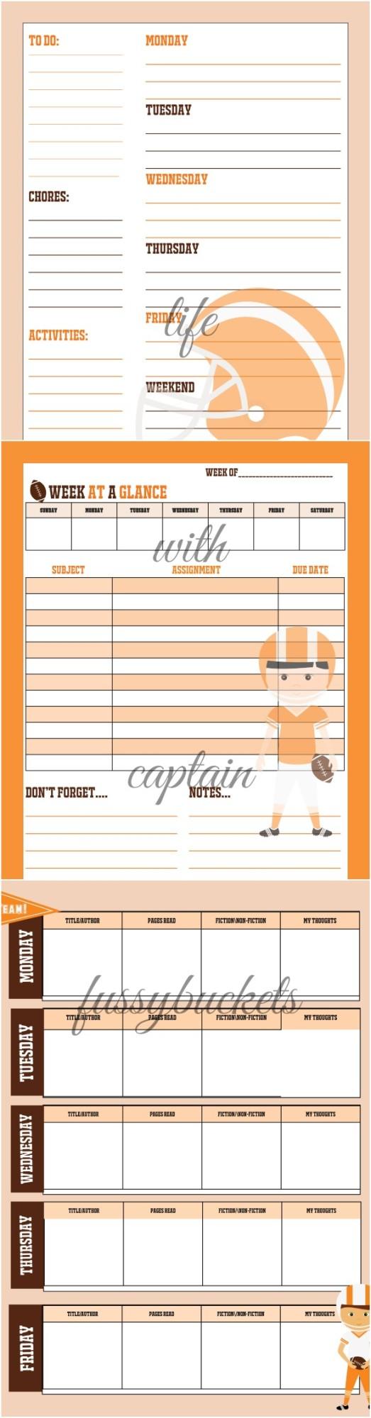 football planner for kids