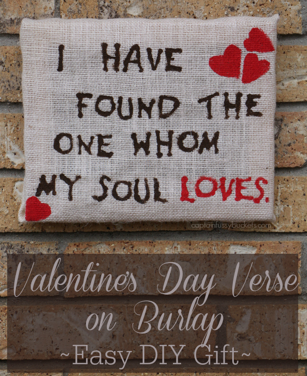 Valentine's Day Verse on Burlap