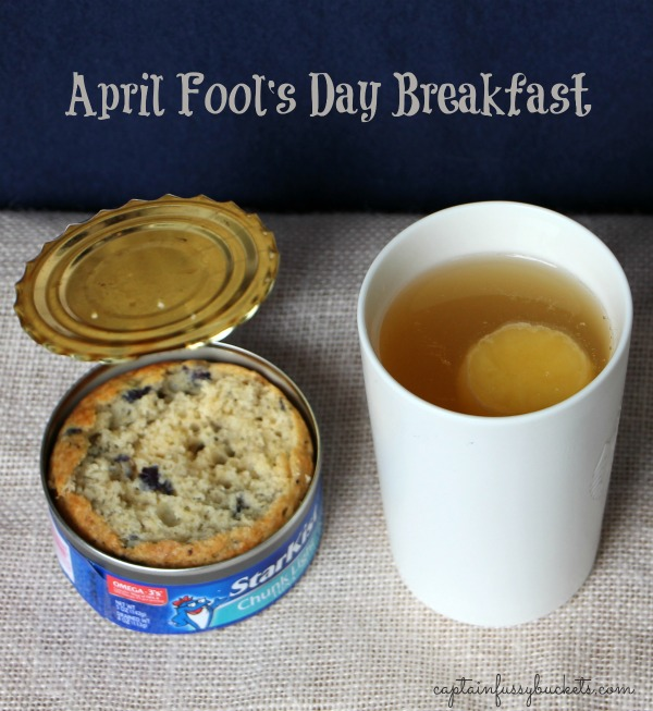 April Fool's Day Breakfast - Tuna Can Muffin and Egg Drink