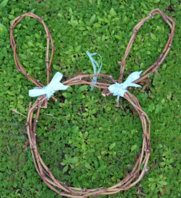bunny wreath out of grapevines