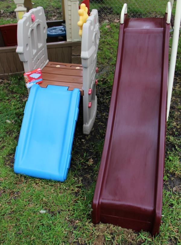 spring clean backyard slide