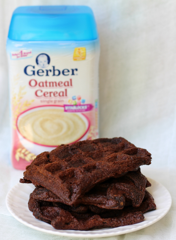 Chocolate Oatmeal Waffles #CookingWithGerber
