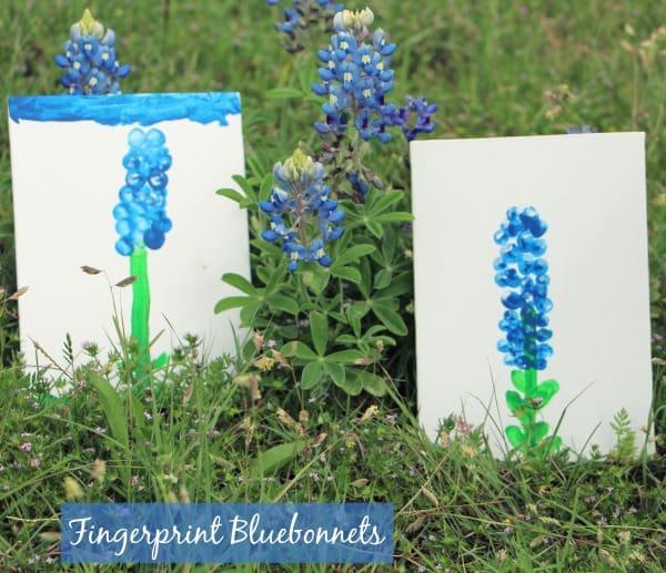 Fingerprint Bluebonnet Craft for Kids