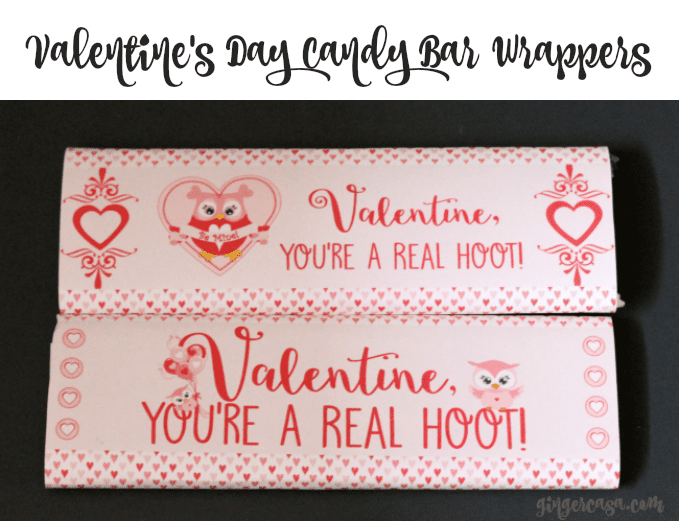 owl valentine's day candy bar wrapper printables