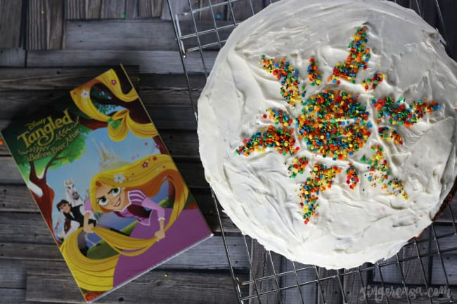 Brownie Chocolate Chip Cookie Cake with Tangled Before Ever After DVD