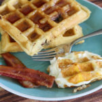 Make Bacon Waffles With Chocolate Chips & Waffle Eggs For Father's Day
