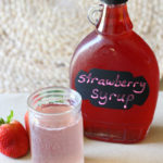 Homemade Strawberry Syrup For Strawberry Soda In Upcycled Maple Syrup Jars