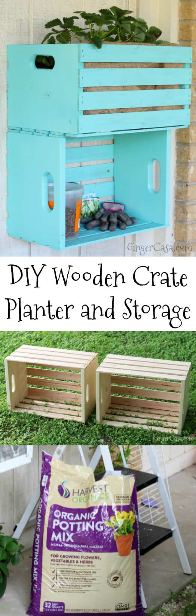 wooden crate planter and storage
