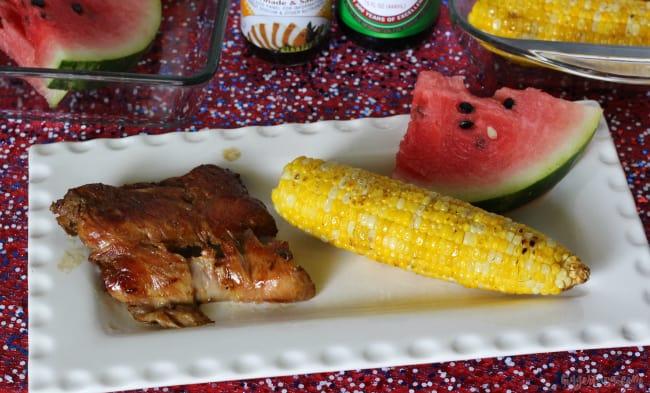 grilled teriyaki corn on the cob and pork ribs