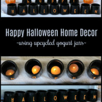 Happy Halloween Jars With Tealights Using Upcycled Yogurt Jars