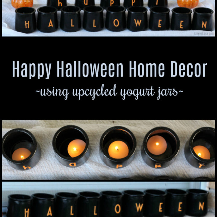 Happy Halloween Jars With Tealights Using Upcycled Yogurt Jars