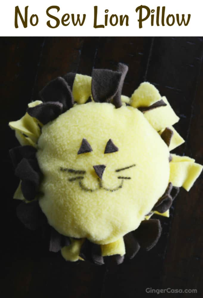 no sew lion pillow
