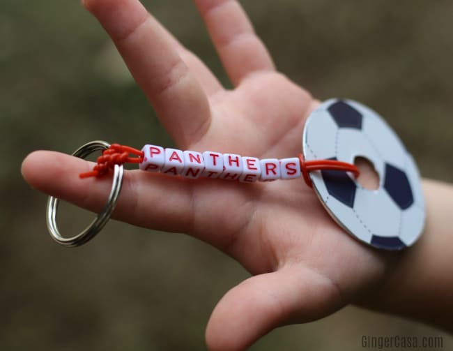 DIY soccer keychain and soccer snacks