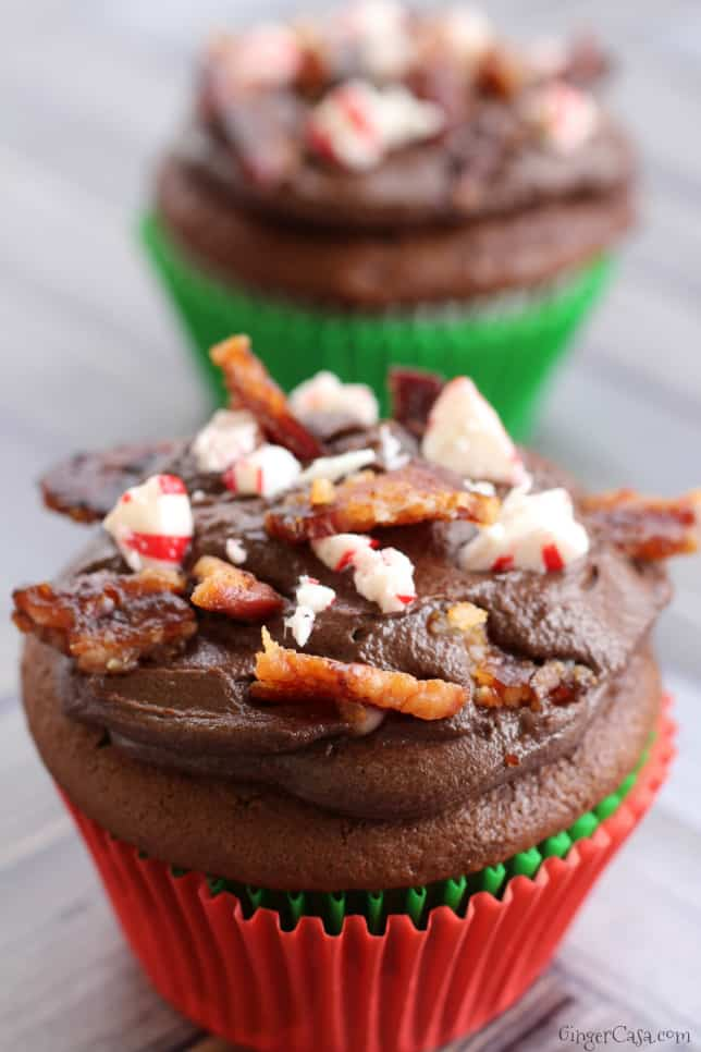 Peppermint Candied Bacon Cupcakes - A Truly Delicious, Unique Dessert!