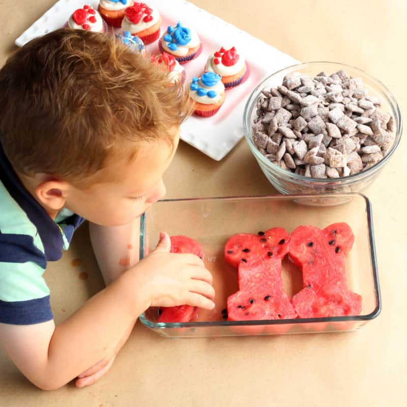 Puppy Chow Paw Cupcakes And Watermelon Bones