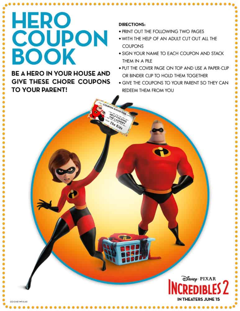 incredibles 2 hero coupon book