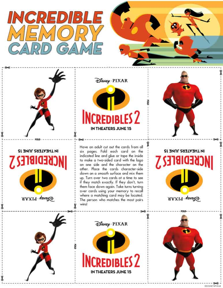 incredibles 2 memory game