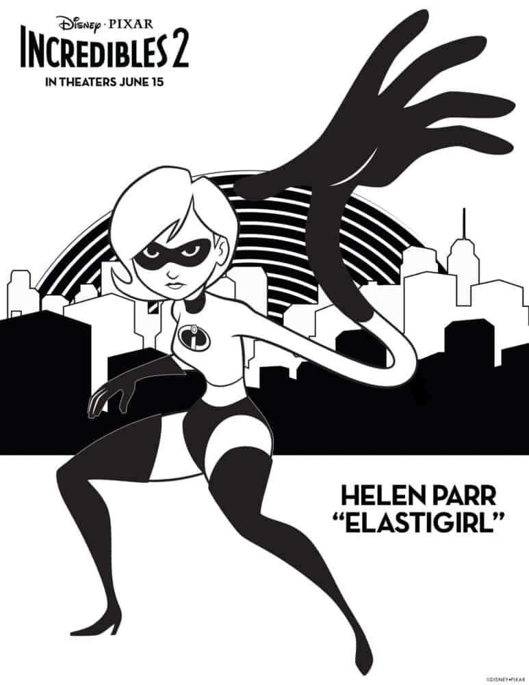 incredibles 2 elastigirl coloring sheet