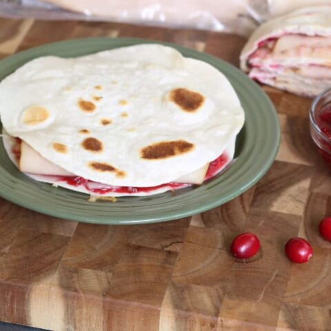 Turkey Cranberry Quesadillas with Cranberry Salsa