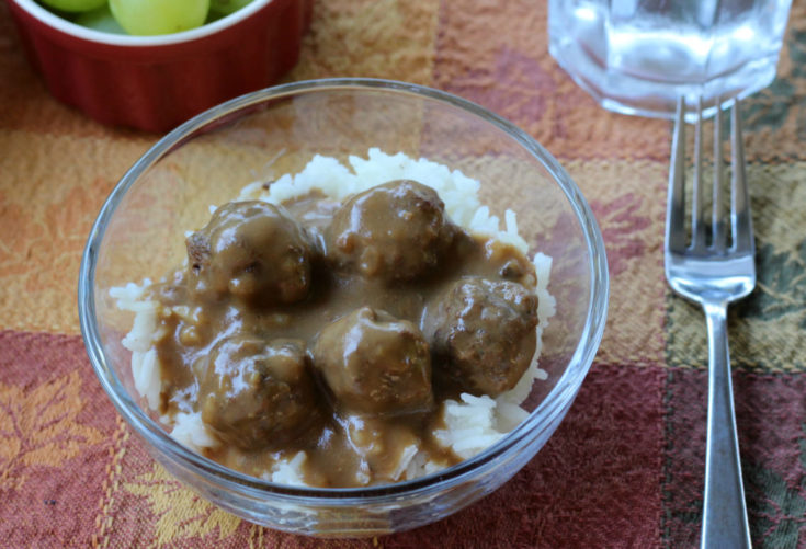 Meatballs and Gravy over Rice