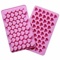 CIMERAC Silicone Mold Mini Heart Shape Silicone Ice Cube Molds Trays/Chocolate Mold Pink Set of Two