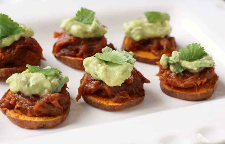 BBQ Beef Sweet Potato Bites with Avocado Cilantro Cream