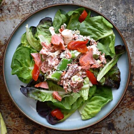 Smoked Salmon Salad with Asparagus & Crème Fraîche (GF)