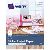 Avery Printable Sticker Paper, Matte White, 8.5 x 11 Inches, Inkjet Printers, 20 Sheets (44383)