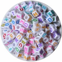 600 Pieces 6mm DIY White Colorful Acrylic Alphabet Letter Cube Beads