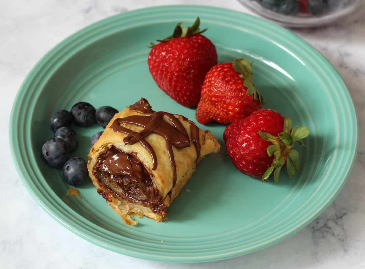 chocolate almond air fryer pastry roll