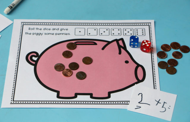 feed the piggy bank math activity for kids