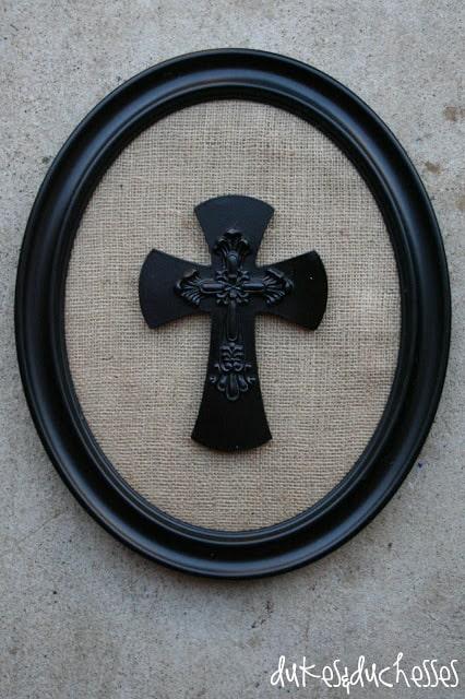 A Cross Framed on Burlap