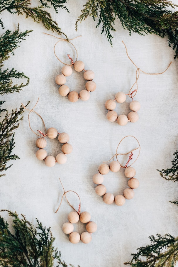 Rustic DIY Bead Ornaments for a Statement Tree