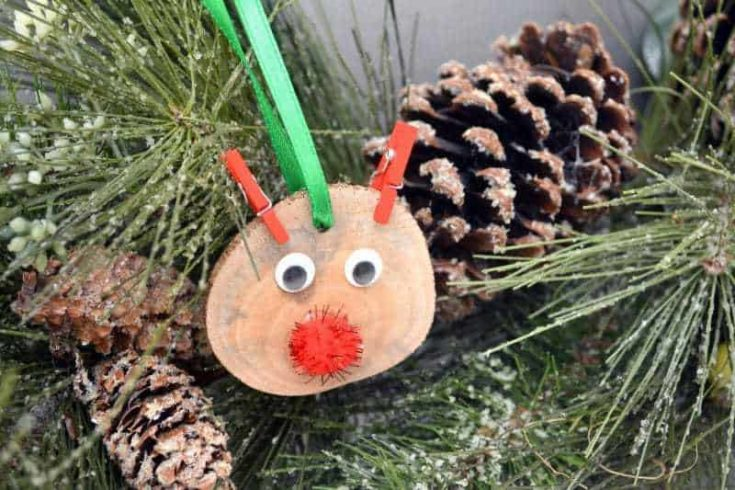DIY Rustic Wood Slice Rudolph the Red Nosed Reindeer Ornament Craft