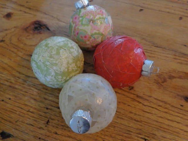 Decoupage Christmas Ornaments tutorial