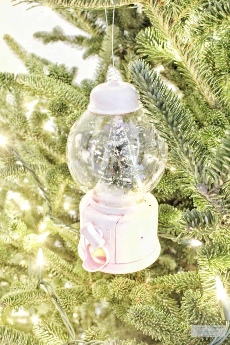 Easy Dollar Tree Ornament from a Gum Ball Machine