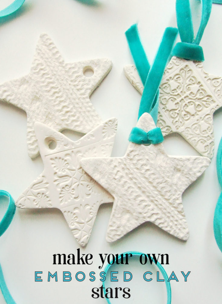 DIY EMBOSSED CLAY STAR DECORATIONS.
