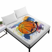 Watercolor Basketball Fitted Sheet Full Size