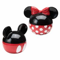 Mickey and Minnie Mouse Ceramic Salt and Pepper Set, Red/Black