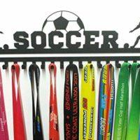 URBN Metal Wall Mount 'Soccer' Sports Medal Hanger and Lanyard Ribbon Display Holder Rack