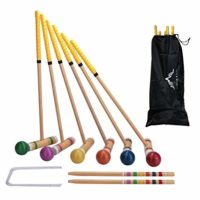 Wooden Six Player Croquet Set for Families
